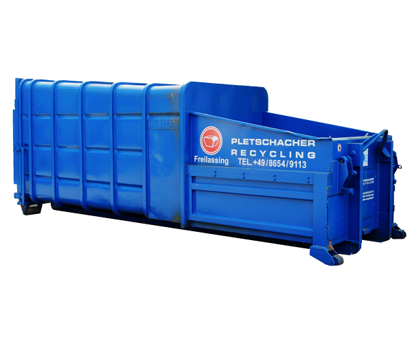 Blauer Press-Container